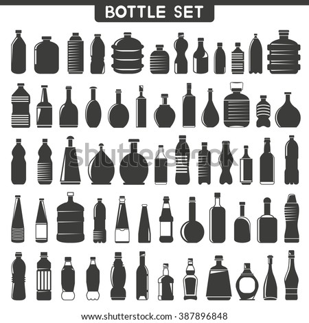 bottle icons set, water bottle icons  - stock vector