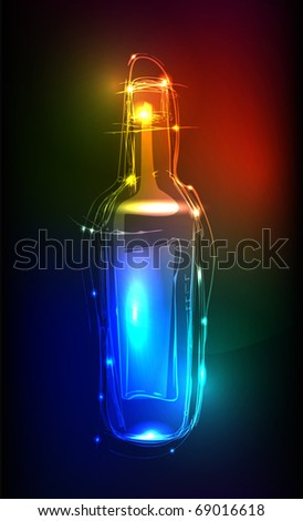 "bottle ""made of light"" collection - stock vector"