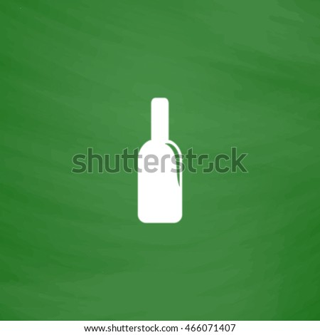 Bottle of alcohol. Flat Icon. Imitation draw with white chalk on green chalkboard. Flat Pictogram and School board background. Vector illustration symbol