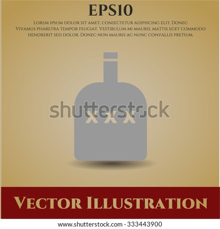 Bottle of alcohol vector icon - stock vector