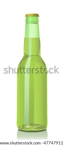 Bottle of beer from green glass and a metal cover. - stock vector