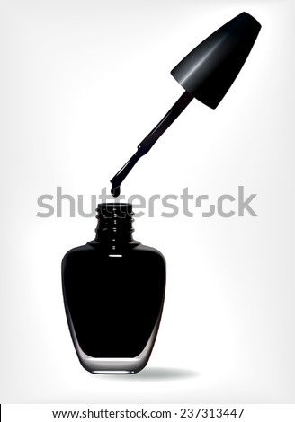 Bottle of black nail polish and drop. Vector illustration