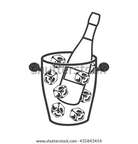 Bottle of champagne in an ice bucket icon. Bottle of champagne in an ice bucket Vector isolated on white background. Flat vector illustration in black. EPS 10 - stock vector
