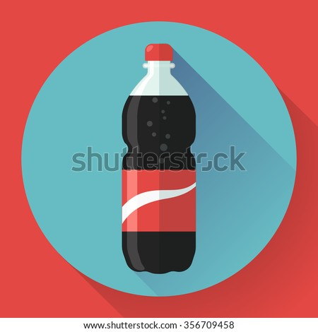 Bottle of cola soda with red lable, vector illustration. Flat designed style. - stock vector