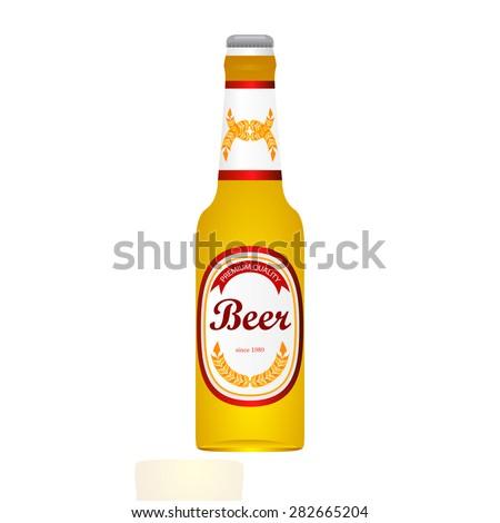 bottle of light beer isolated on white background - stock vector