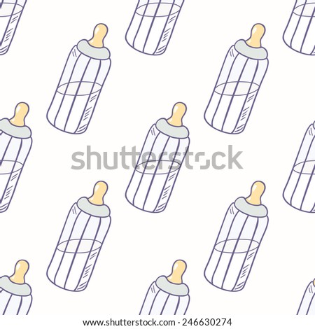 Bottle of milk seamless pattern. Childrens background - stock vector