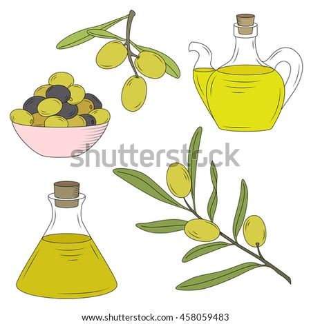 Bottle of oil and the branch of the olive tree.