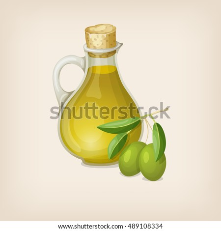Bottle of olive oil and a branch with olives. Vector illustration.