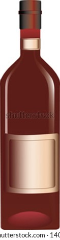 bottle of red wine isolated on white - stock vector