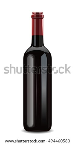 Bottle of red wine. Vector illustration isolated on white background