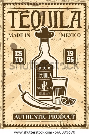 Bottle Of Tequila And Glass With Lime Slice Chili Pepper Vintage Poster For Advertising Alcohol