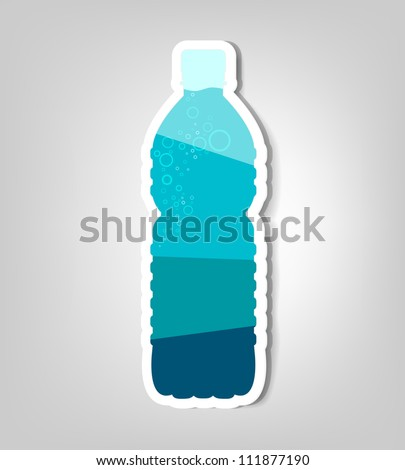 bottle of water. vector poster - stock vector