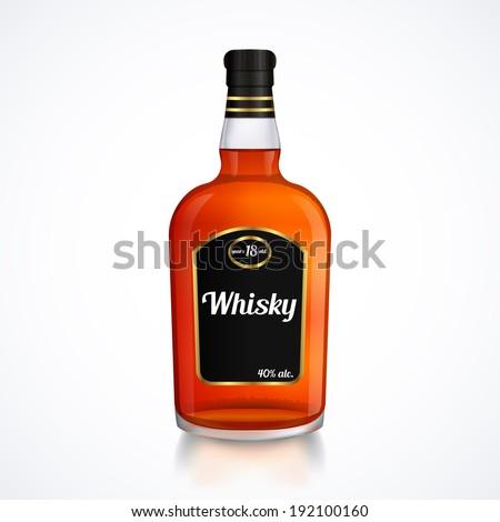 Bottle of whiskey isolated on white - stock vector