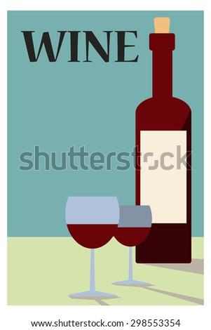 Bottle of wine - stock vector