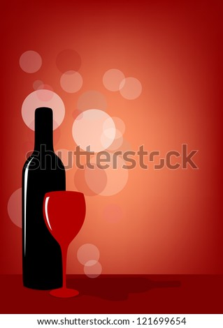 Bottle of wine and glass on red background. Vector version.