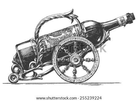 bottle of wine vector logo design template. Vineyard or winemaker icon. - stock vector