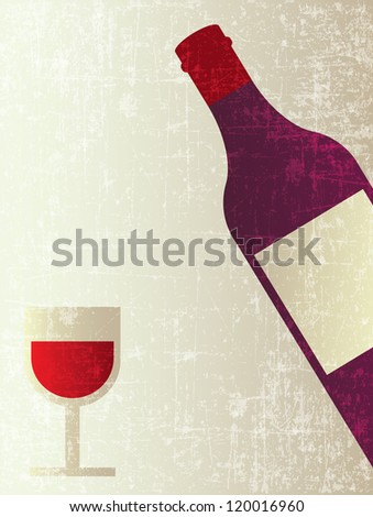 BOTTLE OF WINE WITH GLASS APERITIF POSTER - stock vector