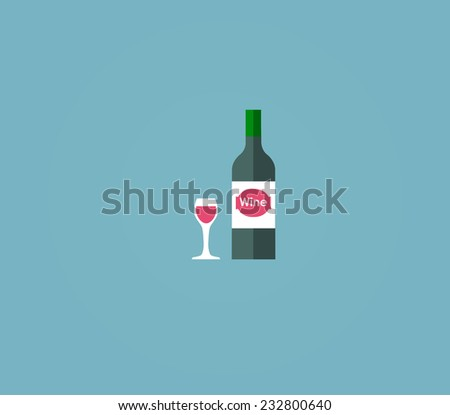 Bottle of wine with wineglass isolated on blue background - stock vector