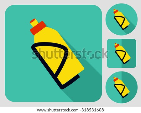 Bottle on the stand icon. Bike accessories. Flat long shadow design. Bicycle icons series. - stock vector