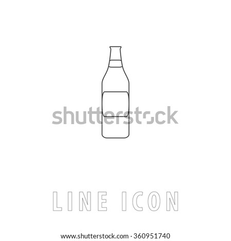 Bottle Outline simple vector icon on white background. Line pictogram with text  - stock vector