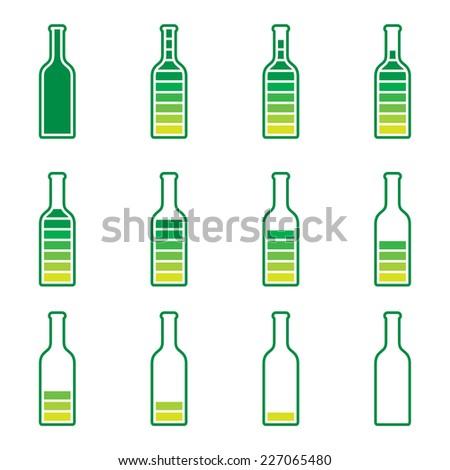 Bottle Preloader - color bottle, full and empty - stock vector