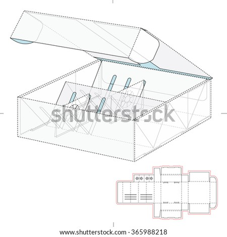 Bottle Shipping Box with Die Cut Template - stock vector