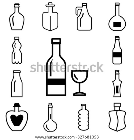 Bottle vector icons set