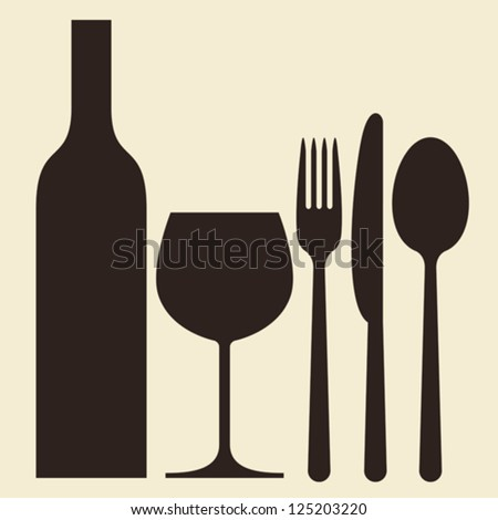 Bottle, wineglass and cutlery - stock vector