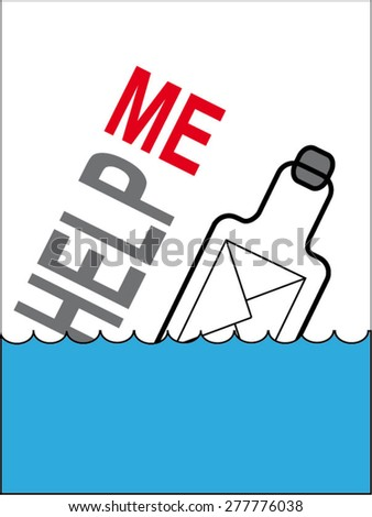 """Bottle with a letter floats on the sea. Caption help me. Please help. The inscription """"Help me"""" - stock vector"""