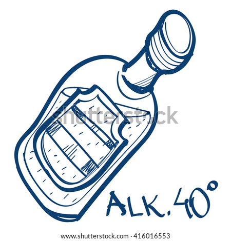Bottle with alcohol drink icon. Design elements in hand drawn style.