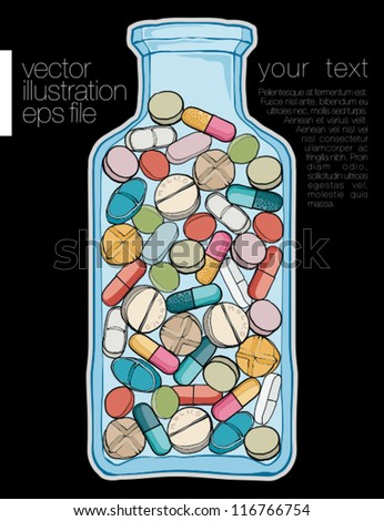 Bottle with pills. Vector file - stock vector
