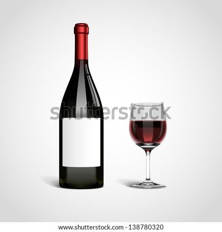 Bottle with red wine and glass, eps10 vector - stock vector