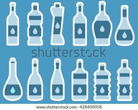 Bottle with stroke, glass with drinking straw. Vector illustration.