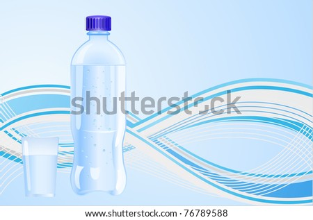 bottle with water and glass on wave background