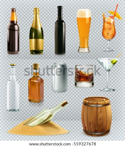 Bottles and glasses, alcohol drink 3d vector icons set