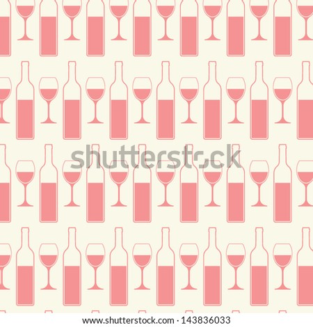 Bottles and glasses of wine seamless pattern