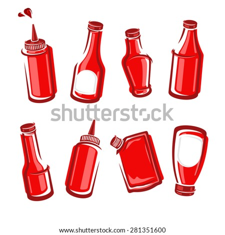 Bottles ketchup set. Vector - stock vector