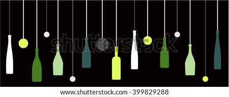 Bottles, Liquor, Wine Hanging on strings Decorative Retro Style - stock vector