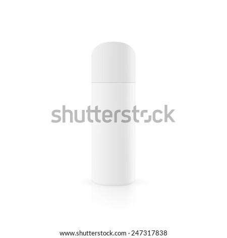 Bottles of aerosol spray on a glossy surface. Packing for hairspray, spray, deodorant. Mock up. - stock vector