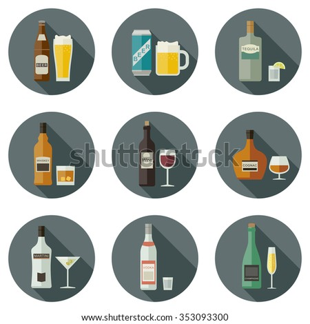 Bottles of alcoholic beverages with mugs and glasses. Drinks and beverages icons.