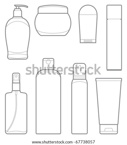 Bottles of cosmetic products - stock vector