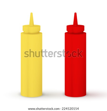Bottles of ketchup and mustard isolated on white