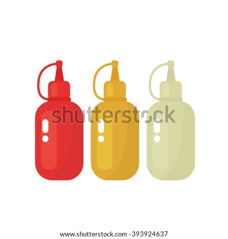 bottles of sauces. ketchup, mustard and mayonnaise. vector illustration