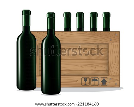 Bottles of wine  and Wooden box on white background. Vector illustration - stock vector