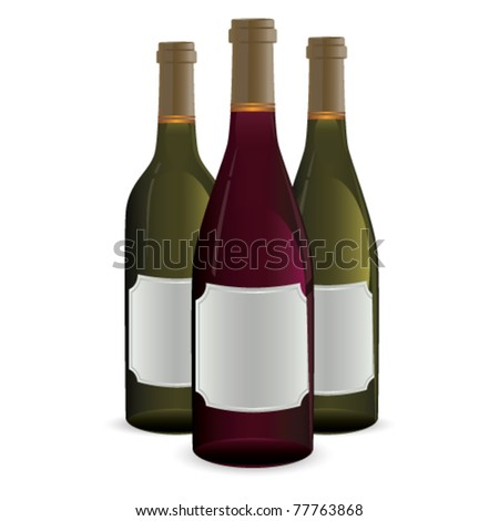 Bottles of wine isolated on white with blank labels