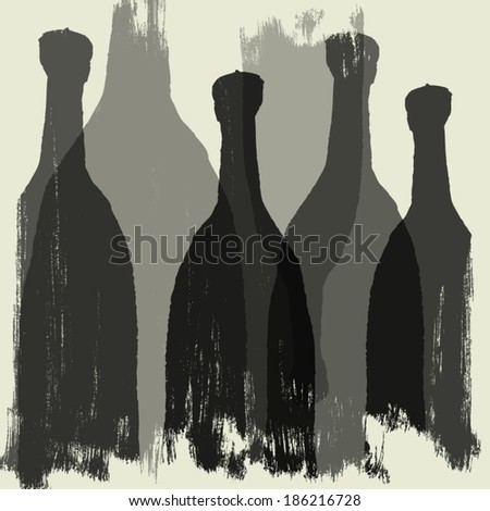 Bottles of wine, whiskey, tequila, vodka. Graphic vector silhouettes - stock vector