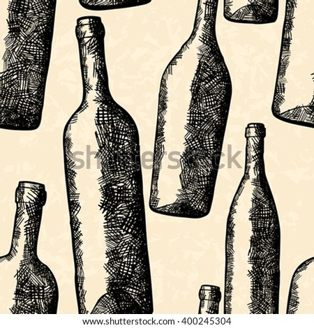 Bottles seamless pattern in hand drawn style - stock vector