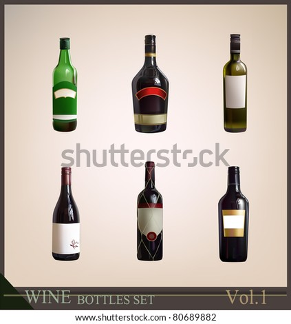 bottles set - stock vector