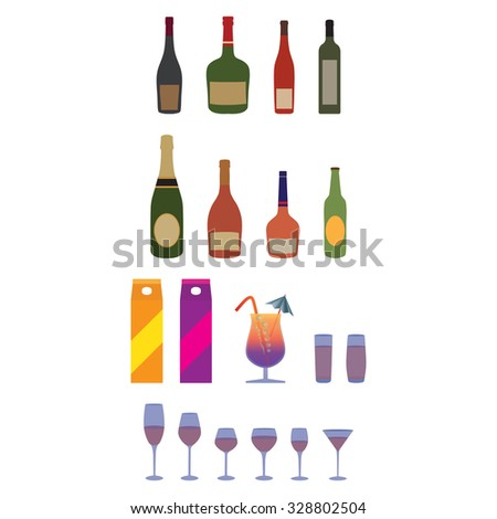 Bottles, stemware, glasses. Alcohol, beverages. Elements for design.