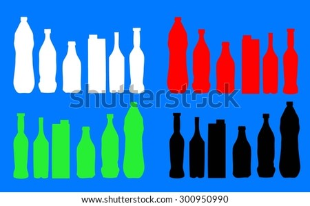 bottles vector icons set